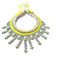 Statement necklace - neon rhinestone necklace, painted rhinestone necklace, bib necklace