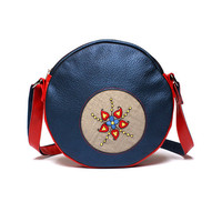 "Natural Leather Across Body Bag / Purse with Hand Embroidery - ""Folky Navy Blue with Red"" collection by BRANDIA"