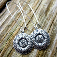 Boho. Flowers. Hippie. Sunflower earrings in silver. Bohemian Jewelry. Silver sunflowers. Small dangle, lightweight everyday wear earrings