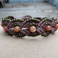 Hemp Macrame Bracelet with Agate and Glass - Hemp Macramé Jewelry