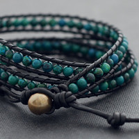 Chrysocolla Leather Wrap Bracelet by XtraVirgin on Etsy