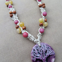 Tree of Life Hemp Macrame Necklace - Natural Bohemian Hippie
