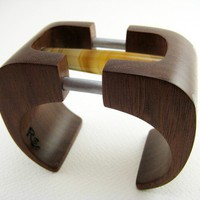 Carved Wood Bracelet / Cuff with Stone and by RamshackleStudio