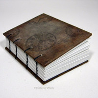 Steampunk Grunge Clock Coptic Bound ACEO/ATC Sketch Book