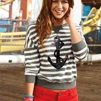 dELiAs &gt; Anchor Striped Sweatshirt &gt; clothes &gt; tops &gt; view all tops