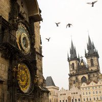 Prague Clock Print Fine Art Travel Print on by Kspencerjones
