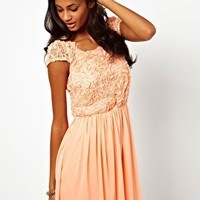Dress with Floral Applique Top