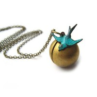 Bird necklace Soaring Sparrow Antiqued Brass by ohdeercreations