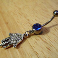 Belly Button Ring - Hamsa Hand with Dark Blue Gem Belly button ring