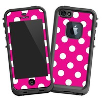 "White Polkadot on Hot Pink ""Protective Decal Skin"" for LifeProof 5 Case"