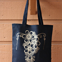 Black Tote Bag Book Bag Beach Bag with Gold Floral Henna Design