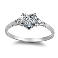 Cassie: 0.81ct Heart-cut Russian IOF CZ Promise Friendship Engagement Ring, 3135, 925 Silver