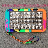 Studded Clutch Wallet for iPhone 4s 5 Neon Tribal Print -Silver Studs-
