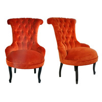 1STDIBS.COM - The Golden Triangle - Pair of Slipper Chairs