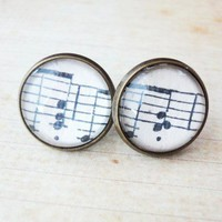 Melody Music Notes Sheet Cleft Glass Antique Brass Stud Post Earrings