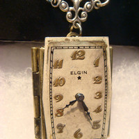 Steampunk  Elgin Watch Face Locket Necklace (941)