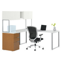 Voi L-Shaped Desk with Upper Storage