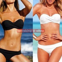 Hot Sexy Fashion Twist Bandeau Top Bikini Beach Bathing Suit 2pcs Swimwear SML