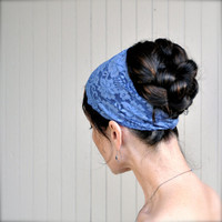 Lace stretch headband in slate blue. Several colors available. Rose lace, pretty and wide enough to scrunch.