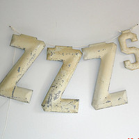 Vintage Metal Letters ZZZS Antique by VintageEmbellishment on Etsy