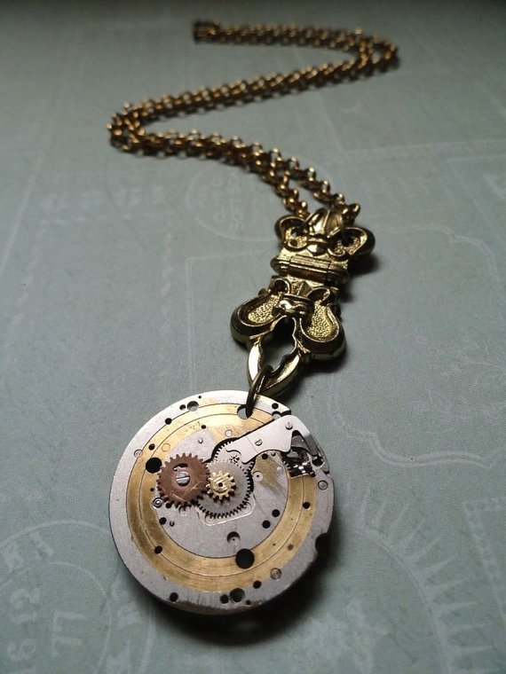 Unisex Fleur De Lis Watch Gear Necklace by AmberIlysSteamcrafts