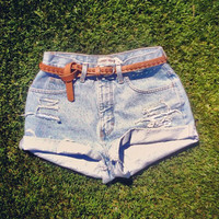 Vintage High Waisted Shorts  Light Distressed Light Wash Jean Shorts