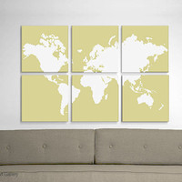 Large World Map Screen Print