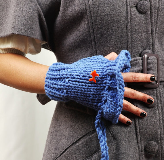Blue Handwarmers with Goldfish Pin by buggarenovated on Etsy