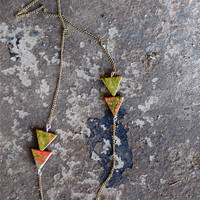 Arrow Necklace(2) - Unakite Necklace Long Triangle Modern Geometric Arrow Necklace - by Bark Decor