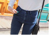 Love Pocket Dark Denim Highwaist Jeans | FashionShop【STYLENANDA】