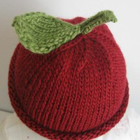 My little Cherry hand knitted Baby hat by handmadefuzzy on Zibbet