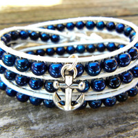 Beaded Leather 3 Wrap Bracelet with Navy Blue Czech Glass Beads on White Leather with Silver Anchor Charm Nautical