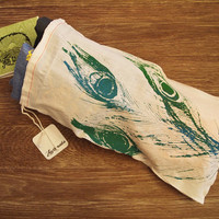 "GIFT BAG 8x14"" Peacock Feathers - Hand Printed Drawstring Cotton Bag with Gift Card"