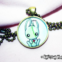 "Cute Zombie Bunny 1"" Pendant Necklace - or 2 for 20 - Positive Kawaii Creepy Cute - ReLove Plan.et"