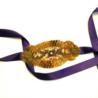 Bronze Beaded Purple Ribbon Headband by SomethingColorful on Etsy