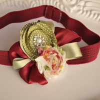 Floral Headband Ribbons and Rosettes on Magenta by lewisandbucky