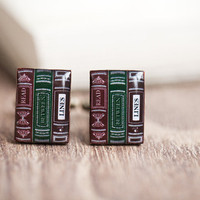 Men Cufflinks - Bookworm - Reader cufflinks for him