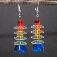 Lego rainbow rocket earrings, silver plated ear wires
