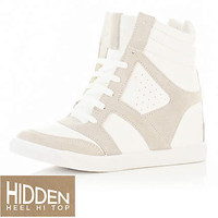 White hidden heel high tops