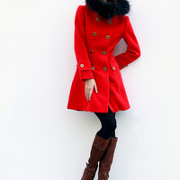 Red Jacket Cashmere Hooded Coat Double breasted Hoodie Wool Coat Winter Jacket - Custom Made - NC424