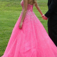 Prom Pageant Pink Long D...