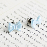 Tiny Blue Bow Stud Earrings, Pearlised, Nickel Free | Luulla