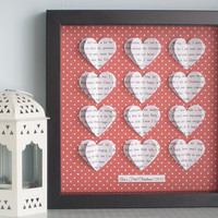 Valentines Day Personalised Heart Frame - 3D Hearts - Wedding Anniversary Gift - Song Lyric Word Art