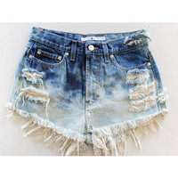 Custom Bleach Dyed Denim Highwasted Shorts by BohoChildGarments