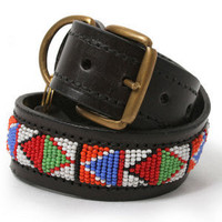 Multi Color Beads Dog Leather