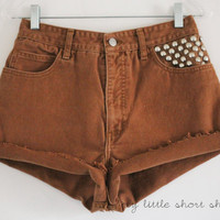 High Waisted Studded Brown Guess Denim Shorts by MyLittleShortShop