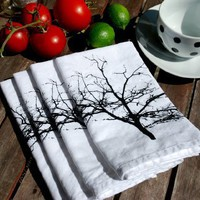 Supermarket - Tree Silhouette Screen Printed Napkin Set of Four  from Branch Handmade