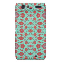 Green and Red Vintage Floral Pattern Droid RAZR Cover from Zazzle.com