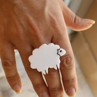 Lamb RingPlexiglass JewelryLasercut AcrylicGifts Under 25 by bugga