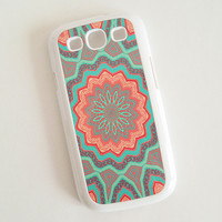 Accessory Case for Samsung Galaxy S3 Coral and Mint Flower Hard Case